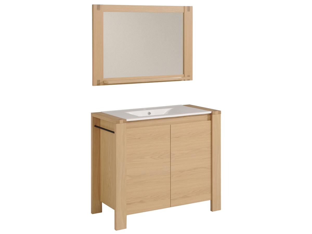 Meuble vasque + vasque + miroir Edna - 100 x 47 x 188 cm