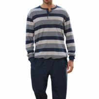Guasch - Pyjama long : sweat à col tunisien à rayures bleu marine et grises, pantalon bleu marine