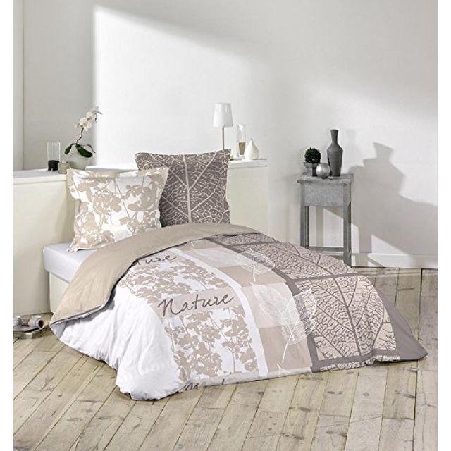 douceur d 39 interieur parure housse de couette 240 x 220 cm douce nature marron 220cm x 240 cm. Black Bedroom Furniture Sets. Home Design Ideas