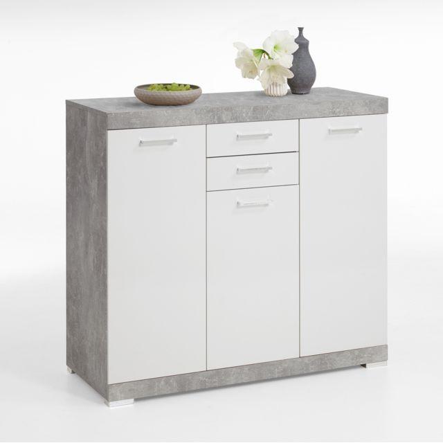 Pegane Buffet coloris Gris béton La / blanc en bois - 120 x 90 x 50 cm