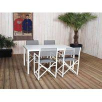 RESIDENCE - Salon de jardin table rectangulaire avec lattes + chaises DIRECTEUR
