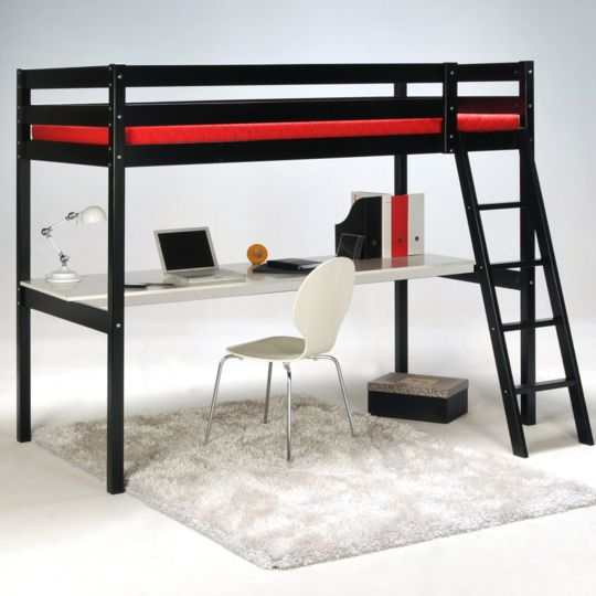 Alinéa Aspen Lit Mezzanine 1 Place Noir Avec Bureau