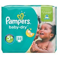 PAMPERS - Baby-Dry - Couches Taille 5+ Junior+, 13-25 kg - 35 couches