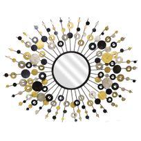 Emde - Miroir soleil mural en métal pastilles 68x89cm Spirit - Noir/DorÃ