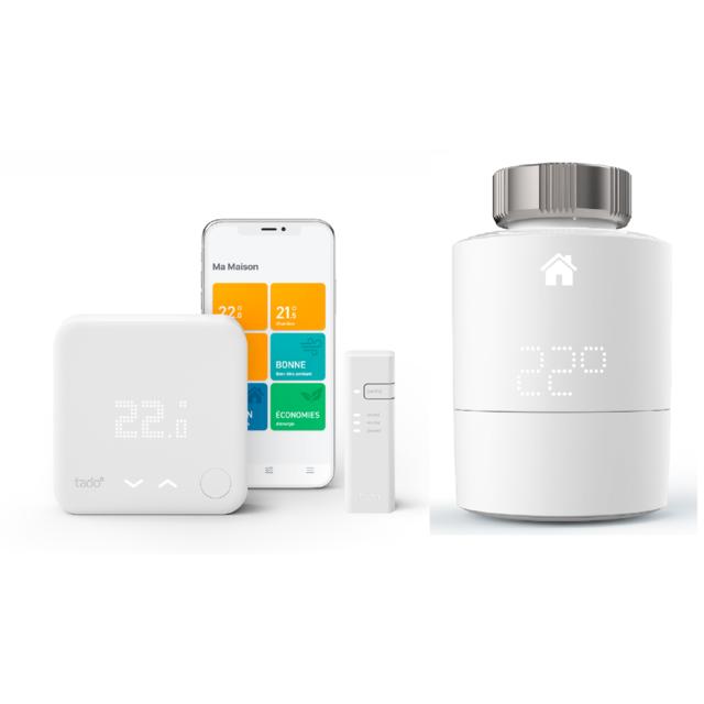 TADO - Kit de démarrage V3+ - Thermostat Intelligent filaire + Tête thermostatique Intelligente
