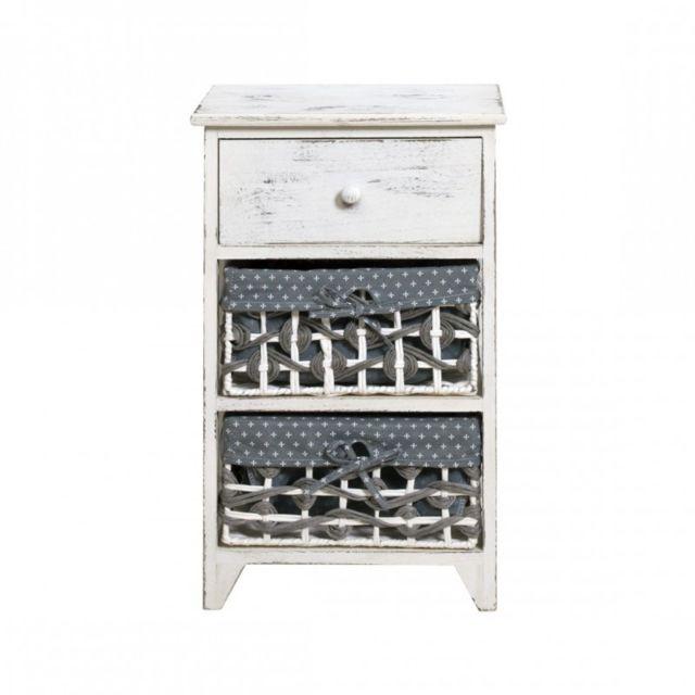 mobili rebecca commode meuble de rangement 3 tiroirs bois osier blanc blue vintage shabby chic. Black Bedroom Furniture Sets. Home Design Ideas