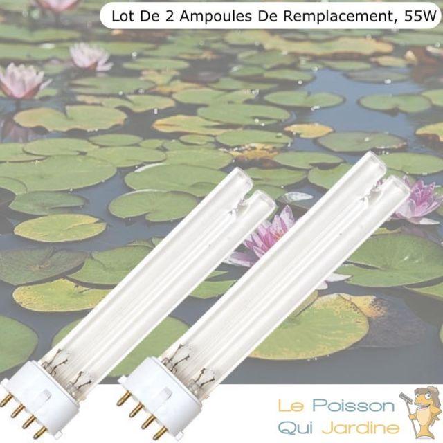 Le Poisson Qui Jardine Lot de 2 Ampoules De Remplacement, Uvc 55W, Pour Aquarium, Bassin De Jardin