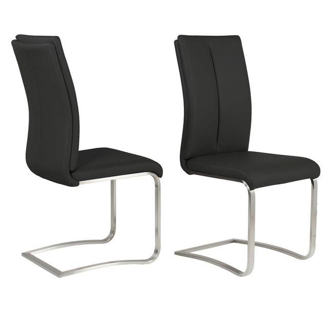 Marque Generique Chaise en polyuréthane avec pieds acier - lot de 2 Alysse - Noir