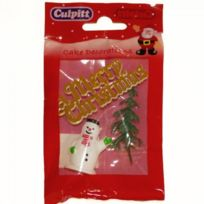 Autre - Sujets de décorations pour gâteaux de Noël - Merry Christmas doré