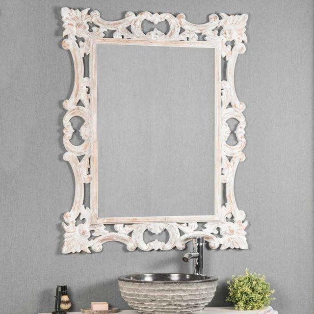 Wanda Collection Miroir baroque en bois patiné blanc 100cm X 80cm