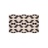 House Bay - Tapis coton imprimé motif ethnique écru/noir Matta - 60x110cm