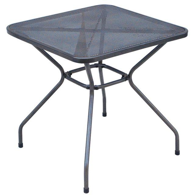 Table d\'appoint de jardin en fer forgé et métal ajouré, coloris gris  anthracite - Dim : H 72 x L 70 x P 70 cm