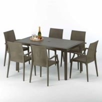 Table rectangulaire 6 chaises Poly rotin