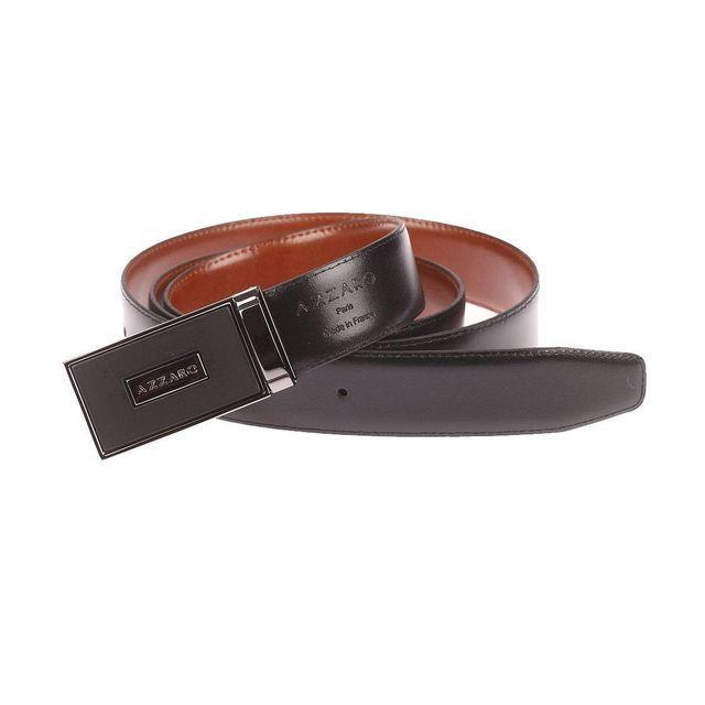 165eaf55388 Azzaro - Ceinture ajustable en cuir noir réversible marron à boucle pleine  noire mate - pas cher Achat   Vente Ceinture homme - RueDuCommerce