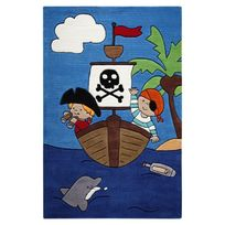 Smart Kids - Tapis Pirates Kids Bleu Chambre garçon Par - Couleur - Bleu, Taille - 110 / 170 cm