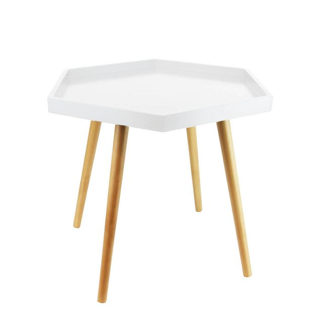 The Concept Factory Table basse blanche avec plateau hexagonal