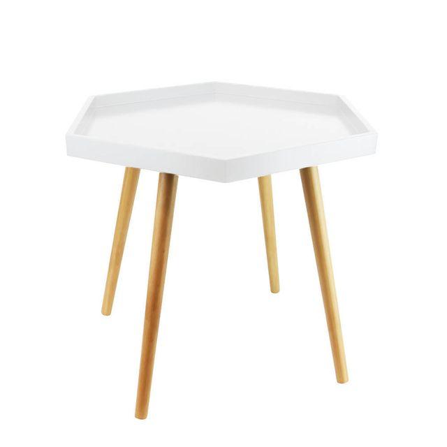 Table Basse Blanche Avec Plateau Hexagonal