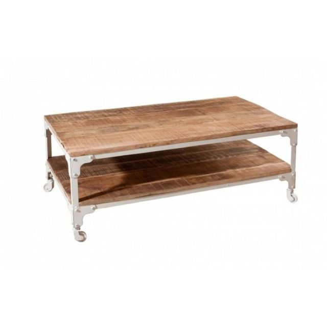 Inside 75 Table basse industrielle double plateau Raphael en bois de manguier