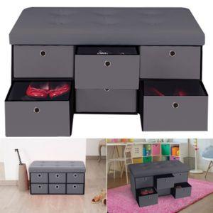 idmarket banc coffre rangement gris 6 tiroirs 76x38x38cm pvc pas cher achat vente banc de. Black Bedroom Furniture Sets. Home Design Ideas