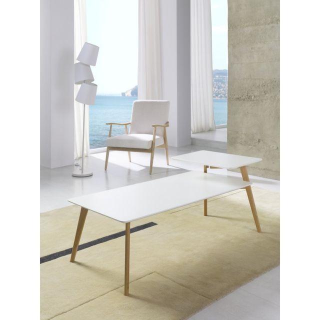 Ma Maison Mes Tendances Table basse rectangulaire 2 plateaux en bois laqué blanc semi-mat et chêne Emmy - L 140 x l 60 x H 55
