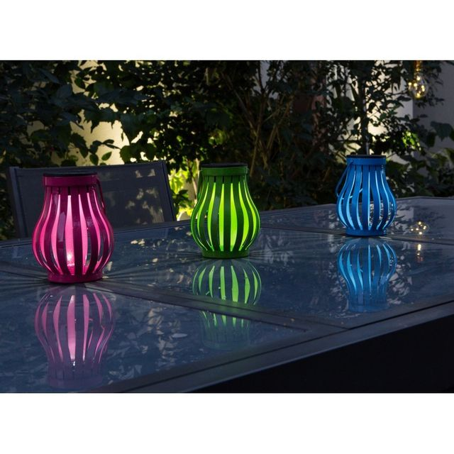 Galix - Lot de 3 x lampe solaire de table Vase Multicolore - pas ...