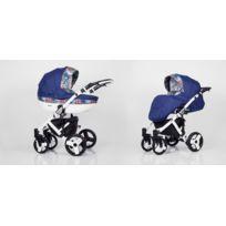 Kunert - Poussette combinée 2en1 multifonctions siège Isofix bébé enfant 0-36m avec équipement Roues en mousse & Cadre blanc Mila | Bleu Marine - Prairie