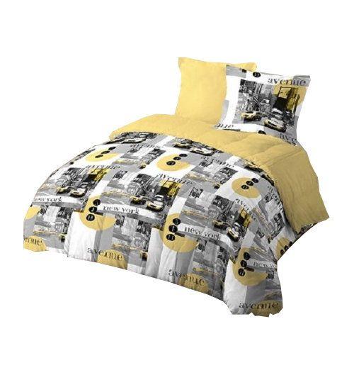 espritzen pack couette l g re douce et temp r e design new york de 200x200cm 2 oreillers. Black Bedroom Furniture Sets. Home Design Ideas