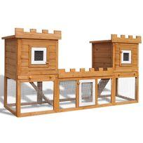 Vimeu-Outillage - Grande Cage Clapier Extérieur pour Lapins en Bois Double clapiers