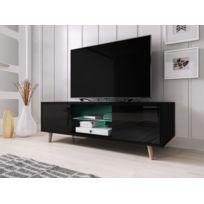 Vivaldi - Sweden Meuble Tv style scandinave noir mat avec noir brillant. Eclairage à la Led bleue