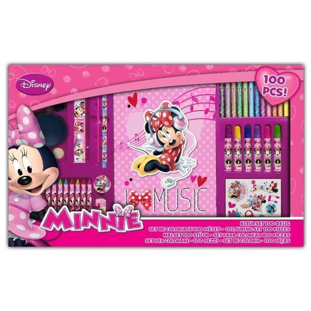 Ze Shop Minnie Set De Coloriage 100 Pieces Avec Carnet Pas Cher