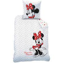 Mickey Mouse - Housse de couette et taie d'oreiller Disney Minnie Drawing 100% Coton