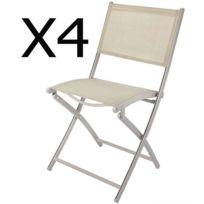 En X Et Lot Taupe 57 H85 Mat 4 Chaises Jardin 5 Cm Textilène De Dim45 Coloris Pliante Acier nP80XwOk