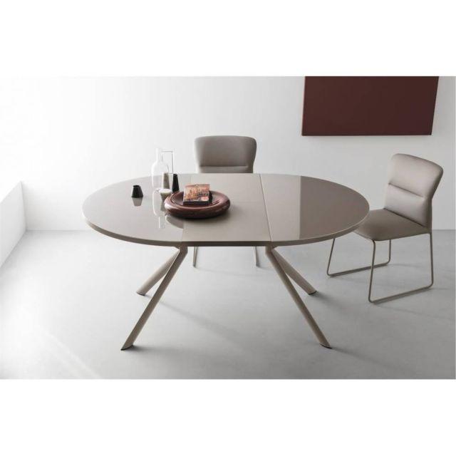 Inside 75 Table de repas extensible ronde Tulipe Quattro 120/165cm en verre sérigraphié