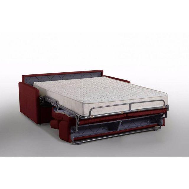 inside 75 canap lit montmartre en microfibre bordeaux convertible rapido couchage 140cm matelas 18cm sommier - Canape Lit Rapido