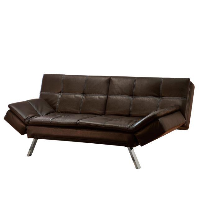 Canapé convertible en simili cuir avec accoudoirs réglables Keo - pas cher  Achat   Vente Banquettes   Clic-Clac, BZ - RueDuCommerce 787349d8aac4