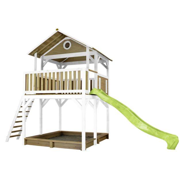 Axi Woody Play Tower Brun/blanc - avec toboggan vert citron