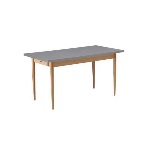 TABLE A MANGER SEULE Table a manger KATTY de 6 a 8 personnes scandinave décor gris foncé + pieds métal décor bois nature