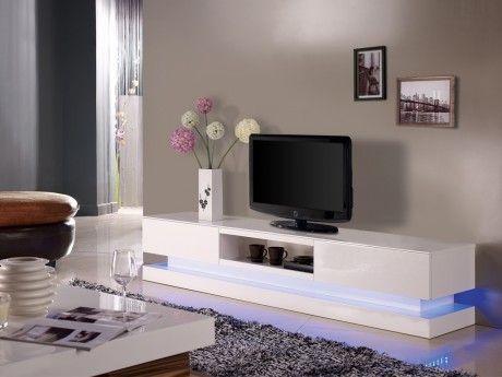 VENTE-UNIQUE - Meuble TV FIRMAMENT - MDF laqué blanc - LEDs - 2 ...