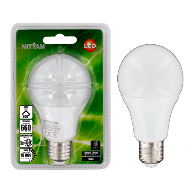 nityam ampoule led globe standard e27 8w 660 lumens couleur chaude 3000k classe. Black Bedroom Furniture Sets. Home Design Ideas