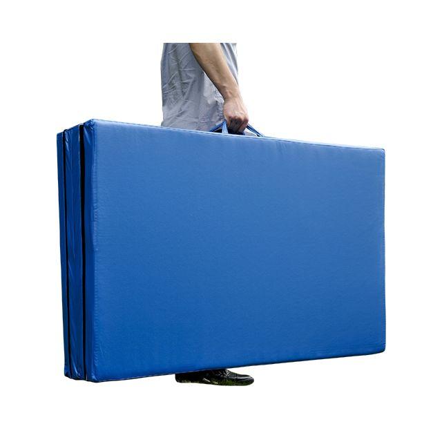 homcom tapis de sol gymnastique natte de gym matelas fitness pliable portable 8 pieds bleu - Tapis Gym