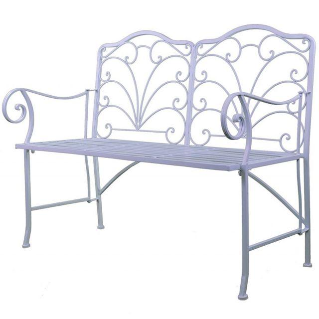L'HÉRITIER Du Temps Chaise Double Banc Pliable Banquette de Jardin en Fer Blanc Assise 2 Places 52x92x111cm