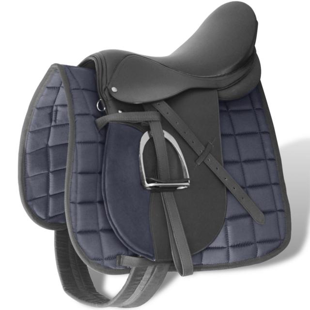 """Vidaxl - Set de selle équitation 17,5"""" en cuir véritable 18 cm 5 1 noir"""