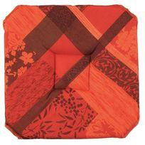 Le Linge De Jules - Galette de chaise anti-taches à rabats Jacquard rouge