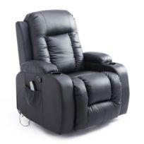 HOMCOM - Fauteuil de massage et relaxation électrique chauffant inclinable repose-pied télécommande noir 50BK
