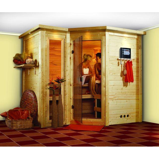 karibu sauna traditionel sahib 2 2 avec couronne 40 mm. Black Bedroom Furniture Sets. Home Design Ideas