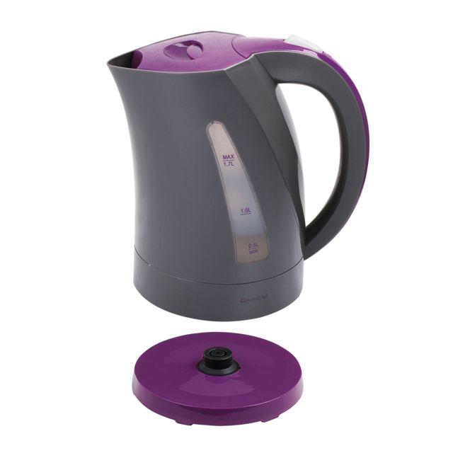 DOMOCLIP Bouilloire électrique bicolore gris/violet DOM298GVI Bouilloire sans fil - Base pivotante sur 360° - Capacité de 1,7 L - Puissance de 2200 W - Réservoir d'eau visible - Interrupteur d'arrêt automatique - Emplac