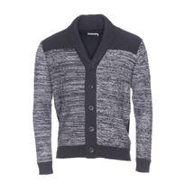 Best Mountain - Cardigan boutonné à col châle noir à rayures gris chiné