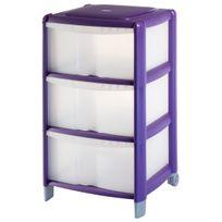 CARREFOUR - Tour de rangement - 3 tiroirs - 60L - Transparent et violet - 9022030AC2CAR