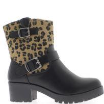 Chaussmoi - Bottines hautes doublées noires à talon de 5cm tige effet léopard