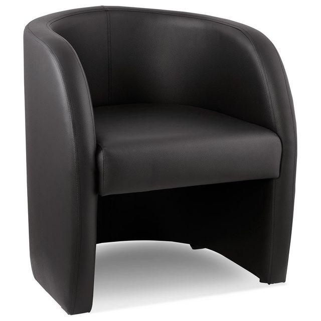 Alterego Fauteuil cabriolet de salon 'MAX' en matière synthétique noire